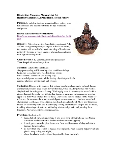 Heartfelt/Handmade Activity:  Hand-Molded Pottery Lesson Plan