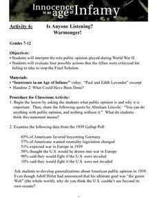 Is Anyone Listening?  Warmonger! Lesson Plan