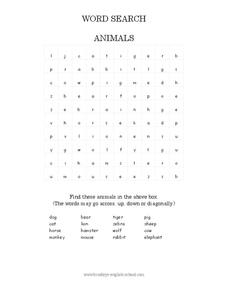 Animals Word Search Worksheet