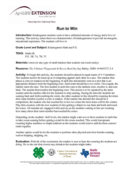 Run To Win Lesson Plan