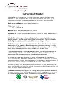 Mathematical Baseball Lesson Plan