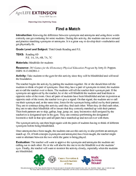 Find a Match Lesson Plan