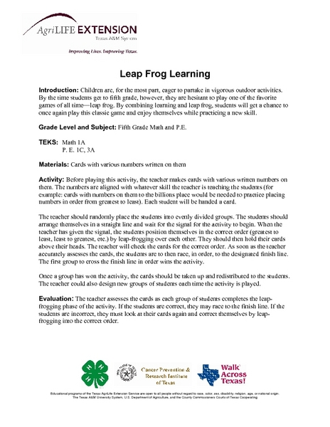 Leap Frog Learning Lesson Plan