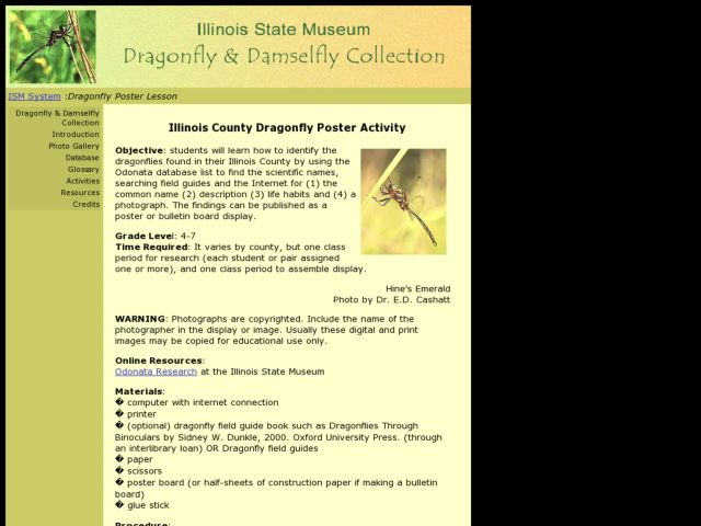 Illinois County Dragonfly Poster Lesson Plan