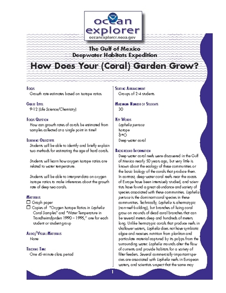 How Does Your (Coral) Garden Grow? Lesson Plan