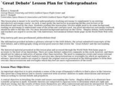 `Great Debate' Lesson Plan for Undergraduates Lesson Plan