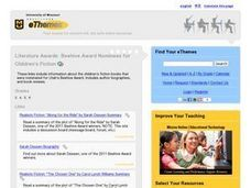 Beehive Award Nominees for Children's Fiction 2005-06 Lesson Plan