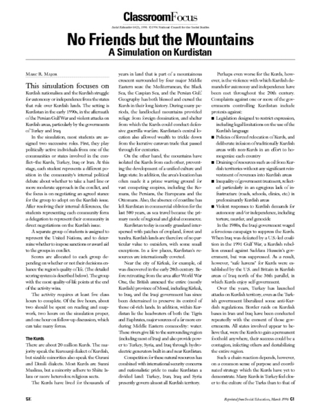 No Friends but the Mountains: A Simulation on Kurdistan Lesson Plan
