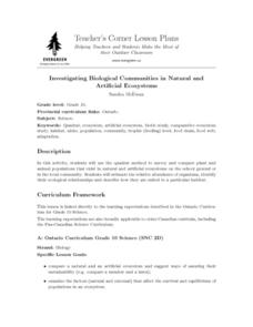 Investigating Biological Communities in Natural and Lesson Plan