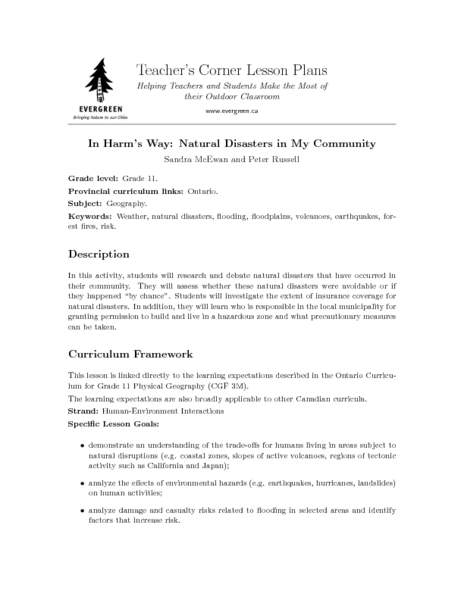 In Harm's Way: Natural Disasters in My Community Lesson Plan