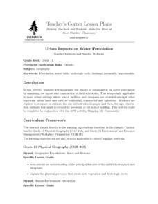 Urban Impacts on Water Percolation Lesson Plan