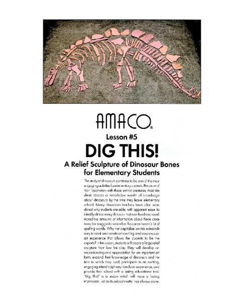 Dig This: A Relief Sculpture of Dinosaur Bones Lesson Plan