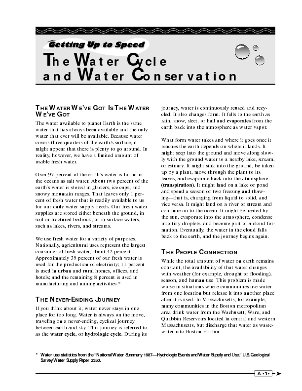 Worksheets Water Conservation Worksheets the water cycle and conservation 6th 12th grade worksheet lesson planet