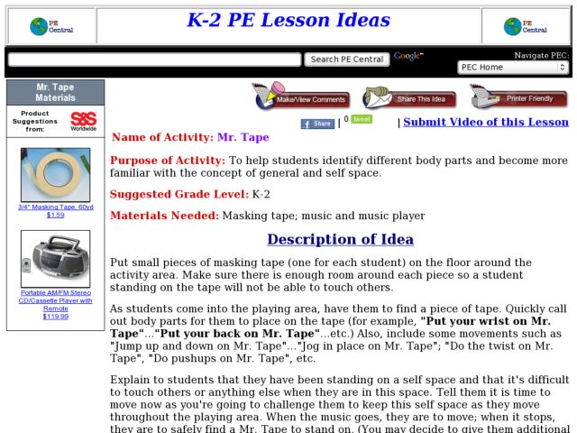 Mr. Tape Lesson Plan