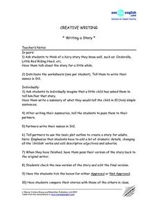 Creative Writing - Writing a Story Lesson Plan