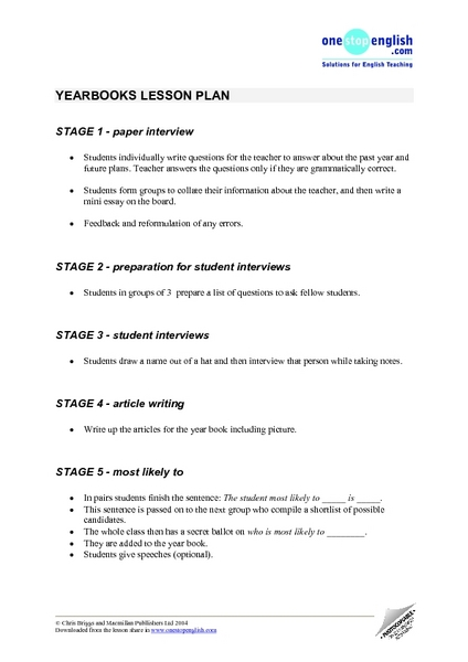 Yearbook Interviews Lesson Plan
