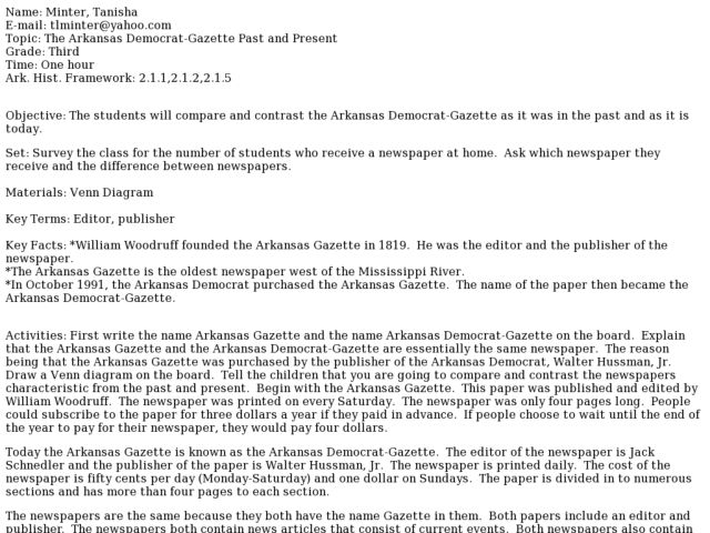 Arkansas Democrat-Gazette Past and Present Lesson Plan
