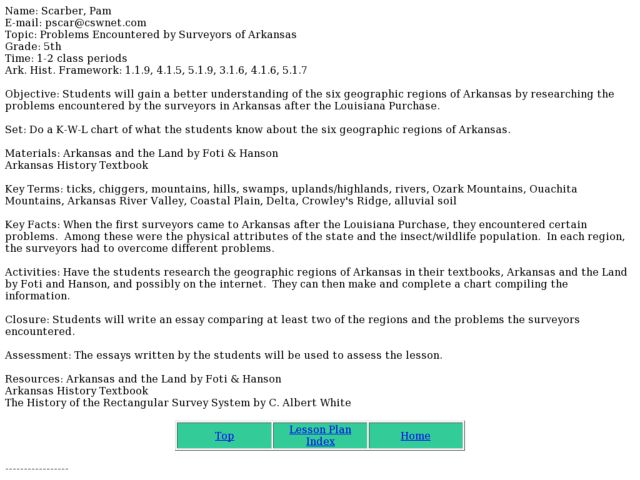 Problems Encountered by Surveyors of Arkansas Lesson Plan
