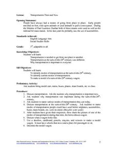Transportation: Then and Now 3rd - 6th Grade Lesson Plan   Lesson ...