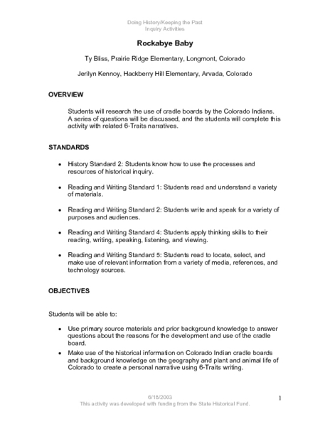 Rockabye Baby Lesson Plan