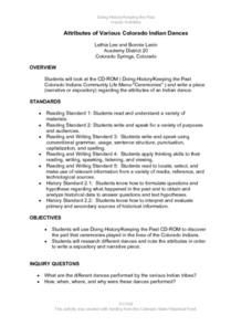Attributes of Various Colorado Indian Dances Lesson Plan