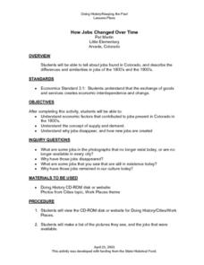 How Jobs Changed Over Time Lesson Plan