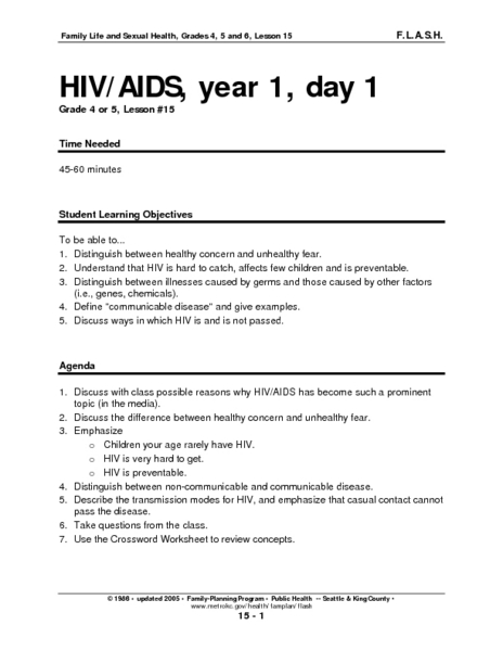 Hiv/aids, Year 1, Day 1 Lesson Plan