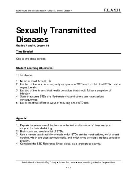 Sexually Transmitted Diseases: Lesson 4 Lesson Plan