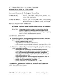 Relating Main Ideas in Three Poems Lesson Plan