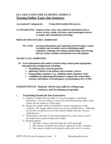 Turning Outline Topics Into Sentences Lesson Plan