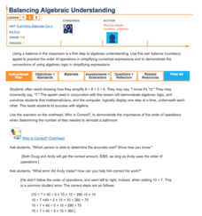 Balancing Algebraic Understanding—Everything Balances Out in the End Lesson Plan