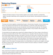 Balancing Shapes—Everything Balances Out in the End Lesson Plan