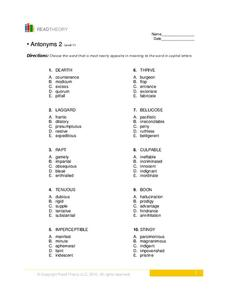 Antonyms 2  Worksheet