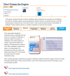 Don't Freeze the Engine—Making Sense of Percent Lesson Plan