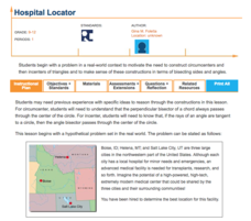 Hospital Locator Lesson Plan