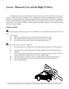 Minnesota Law and the Right to Drive Lesson Plan