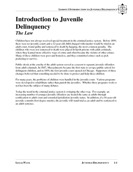 Introduction to Juvenile Delinquency Lesson Plan