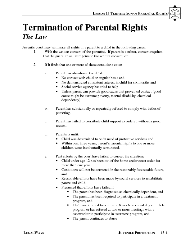 Termination of Parental Rights Lesson Plan