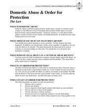Domestic Abuse and Order For Protection Lesson Plan