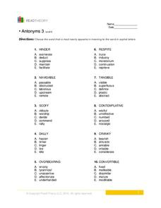 Antonyms 3 Worksheet