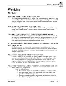 Working: The Law Lesson Plan
