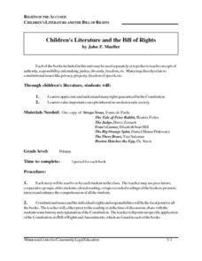 Children's Literature and the Bill of Rights Lesson Plan