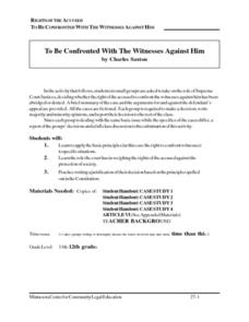 Rights of the Accused: To Be Confronted with the Witnesses Against Him Lesson Plan
