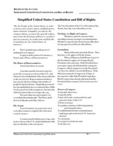 Simplified United States Constitution and Bill of Rights 5th ...