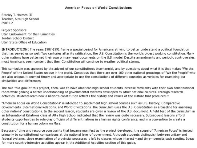 American Focus on World Constitutions Lesson Plan