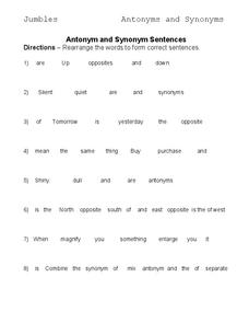 Antonyms and Synonyms Worksheet