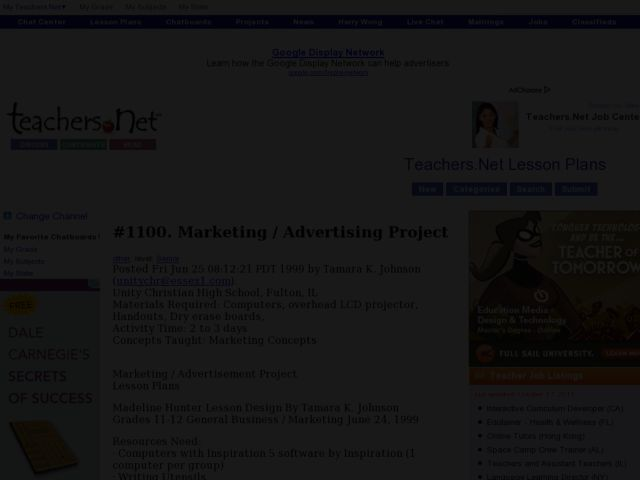 Marketing and Advertising Project Lesson Plan