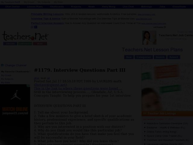 Interview Questions Part III Lesson Plan