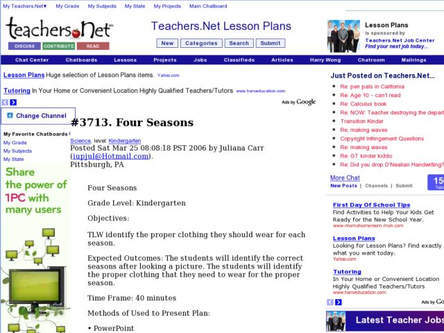 Four Seasons - Internet Research Lesson Plan
