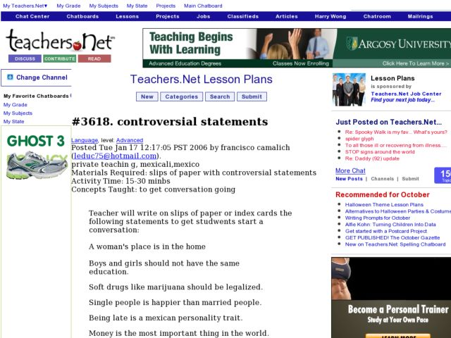 Controversial Statements Lesson Plan